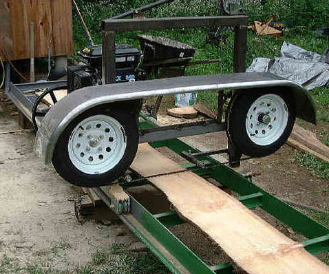 Band sawmill using trailer (caravan?) parts